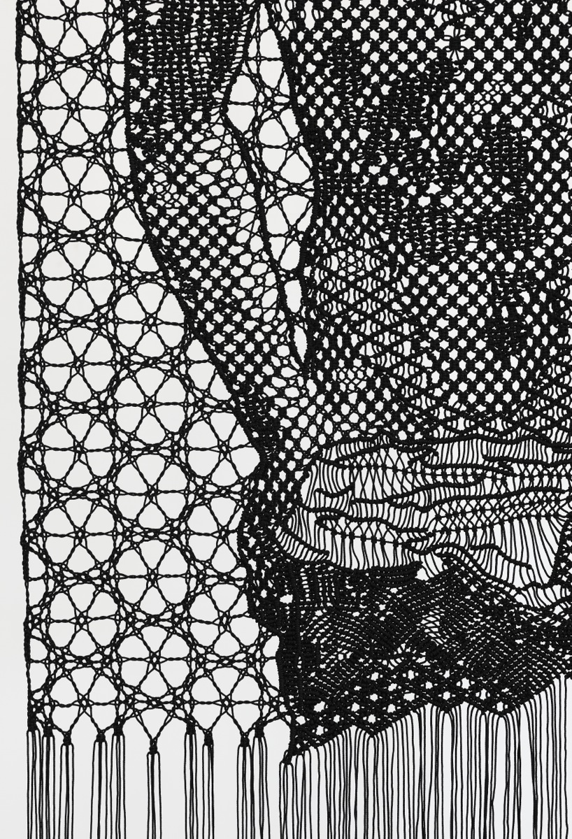 Pierre Fouché. The Judgment of Paris (after Wtewael) (2013). Macramé and bobbin lace in polyester braid. 800 x 2000mm. Private collection