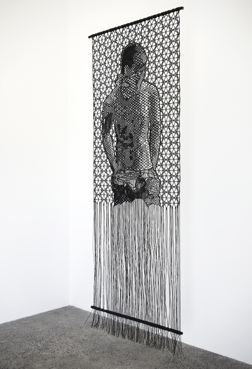 Pierre Fouché. The Judgment of Paris (after Wtewael) (2013). Macramé and bobbin lace in polyester braid. 800 x 2000mm.