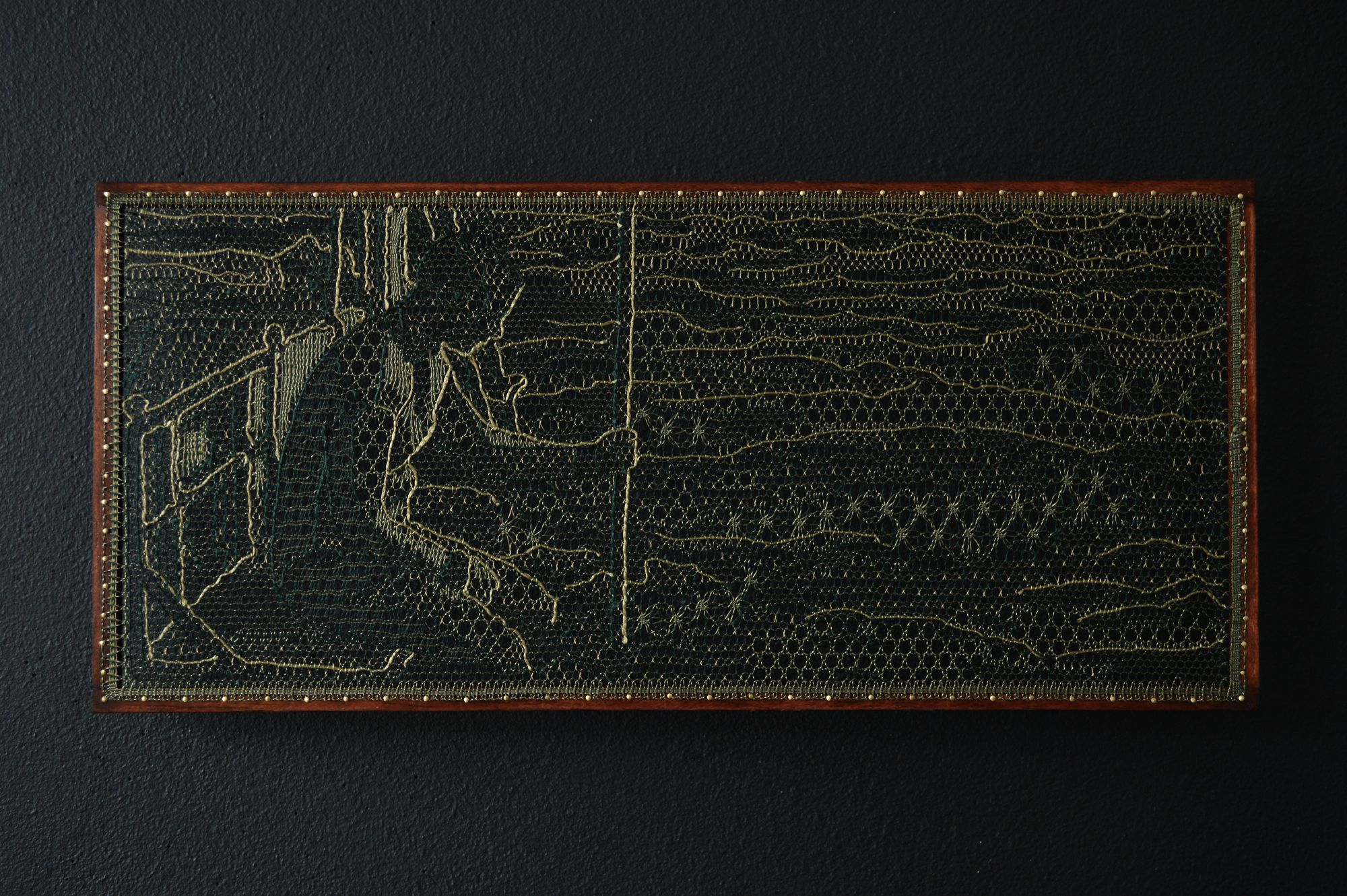 Pierre Fouché . James. 2015. Silk floss, wood, brass pins. 144 x 328mm. Private collection.