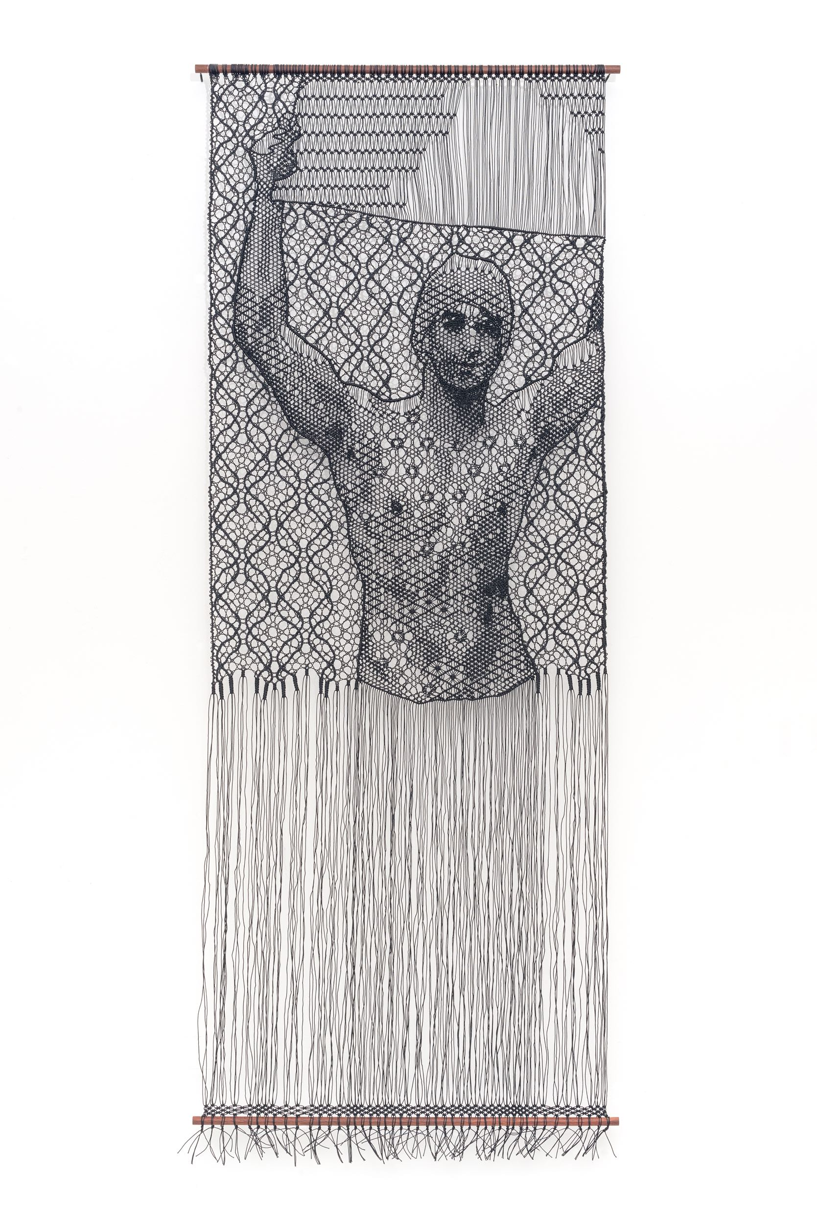 Pierre Fouché. The Judgment of Paris (after Wtewael) III. 2018. Bobbin lace and macramé in polyester braid, wood. 208 x 80cm. Private collection.