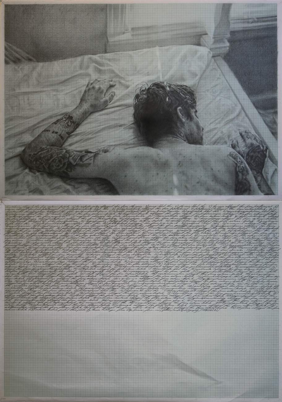 Pierre Fouché. And the walls came tumbling down (satanstesticle posted this). 2012.. Graphite on graph paper. 830 x 595mm.